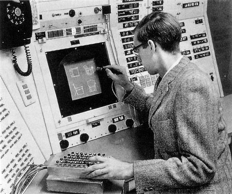 641ed082883 Figura 3 - Ivan Sutherland usando o Sketchpad in 1962. Fonte:  https://history-computer.com/ModernComputer/Software/Sketchpad.html
